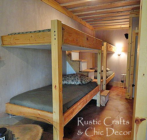 rustic bunk beds for adults | ... also allows for some nice storage space under the beds for luggage