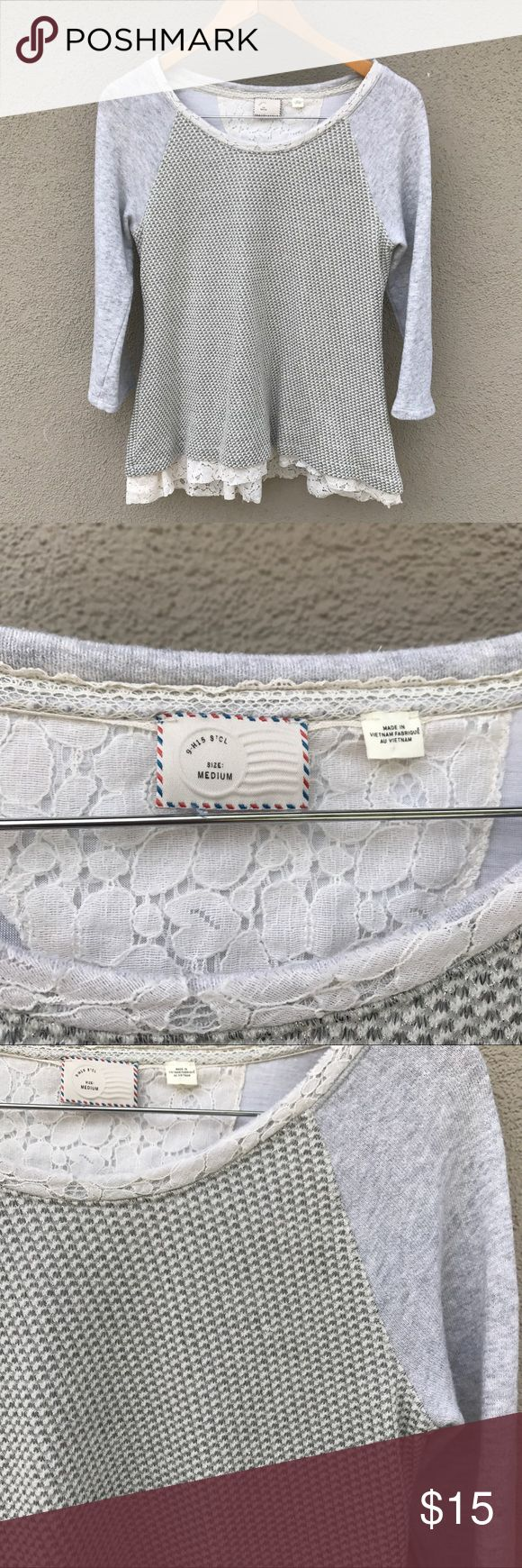 ✨ POSTMARK GRAY LACE RUFFLE TOP ✨ Lightweight gray long sleeve Postmark from Anthropologie  t-shirt! Beautiful patterned front and back with a shiny touch. Lace lined from and back with a little peplum back! Questions? Don't like the price? Offer away! Happy Poshing! :) Anthropologie Tops