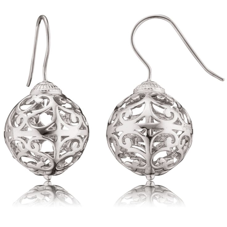 Silver Arabesque Ball Hook Earrings - ENGELSRUFER - JEWELLERY