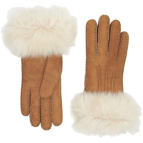UGG 3PT Toscana Waterproof Sheepskin Gloves (Chestnut) Extreme Cold... (1.325 NOK) ❤ liked on Polyvore featuring accessories, gloves, ugg, waterproof gloves, ugg gloves, cold weather gloves and water proof gloves