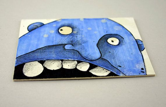 Blue Monster Original ACEO by Aaron Butcher by Aaronbutcher, $5.00