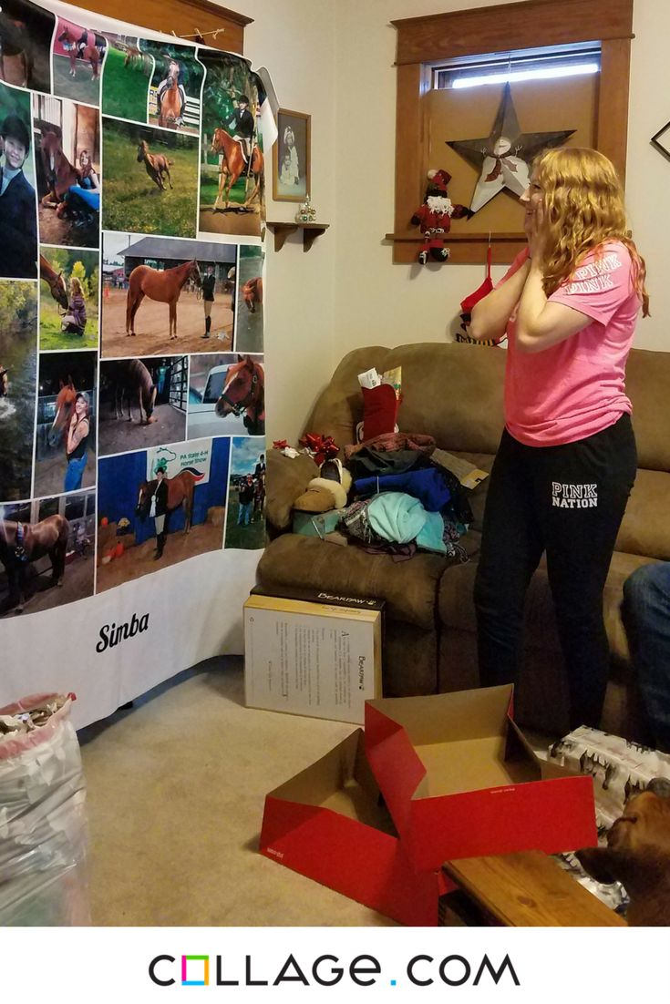 """""""This is the reaction of my daughter opening her blanket.  It was all pictures of her beloved horse who she got and trained.  They have been through so much together.  My daughter has JRA since she was 2 and this horse has been the reason she gets moving every day even when she feels that she just can't get up. He's her inspiration to live life.  She was only 11 yrs old. She broke him and has shown him for the last 4 yrs. He's an amazing boy. Thank for this beautiful blanket!"""""""