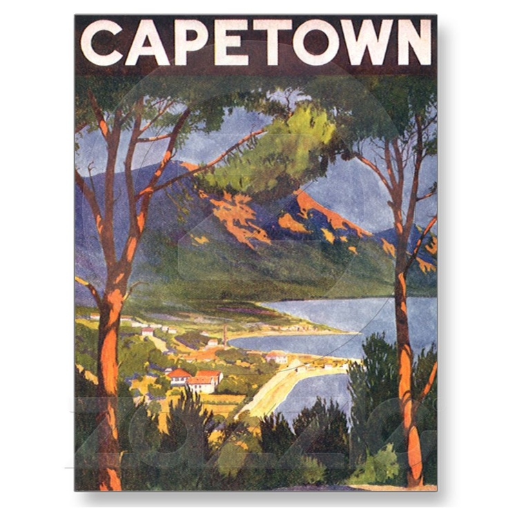 Vintage Travel Poster, Cape Town, South Africa Postcard from Zazzle.com
