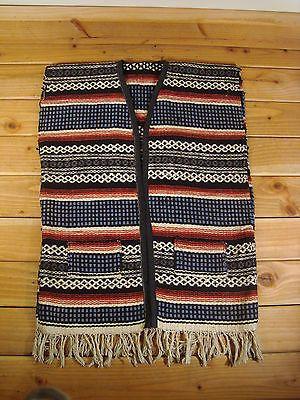 Vintage Mexican Serape Blanket Ikat Fringe Hippie Vest ...