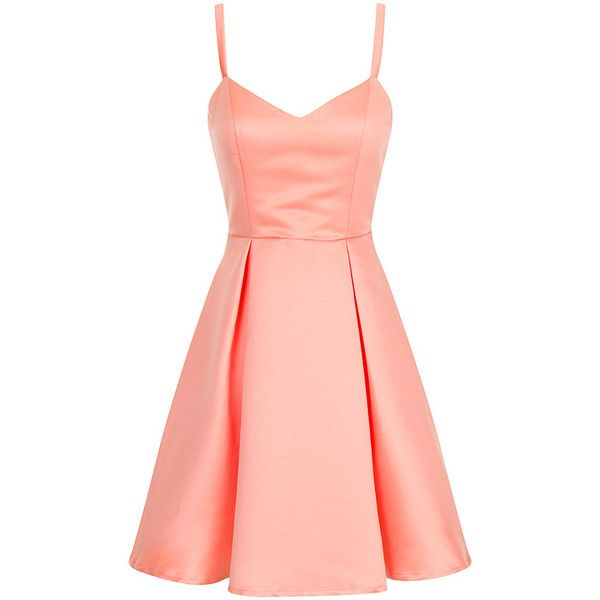 Coral Structured Bow Back Prom Dress (£42) ❤ liked on Polyvore featuring dresses, vestidos, robe, short dresses, coral, mini prom dresses, coral dress, cocktail prom dress, red bow dress and bow-back dress