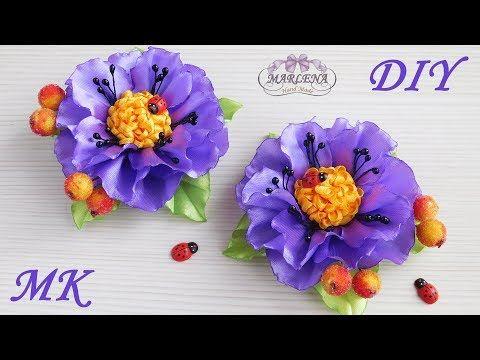 Flores 🌺 de cintas con sus manos 👐. Kanzashi MK / DIY - YouTube
