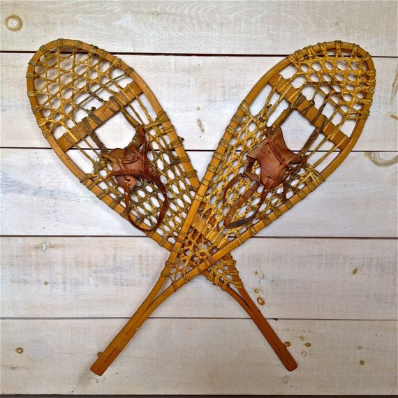 Pair of traditional Canadian hand made snowshoes by MyVintageCabin