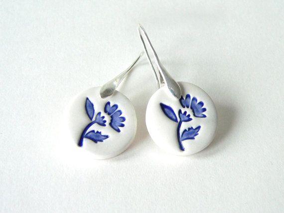 Delft blue ceramic earring, blue and white ceramic earring, folk art inspired…