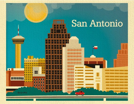 San Antonio Skyline Art Print Texas Wall Art San by LoosePetals