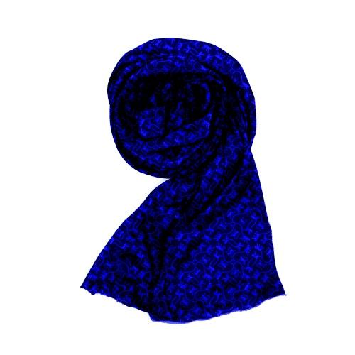 Espectacular bufanda en azul royal con estampados de monos en color negro, de Kipling