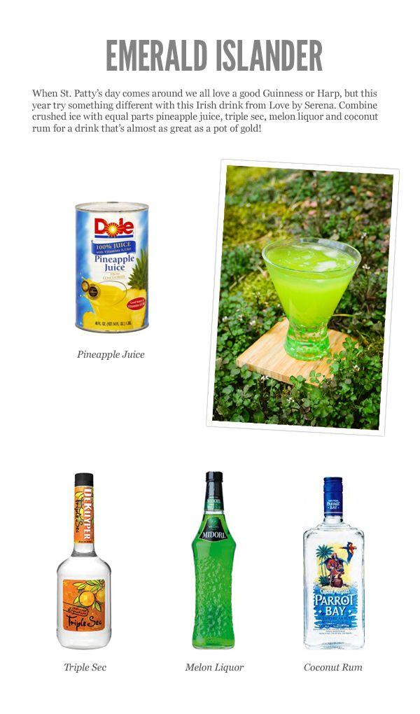Emerald Islander (pineapple juice, triple sec, melon liquor, & coconut rum)