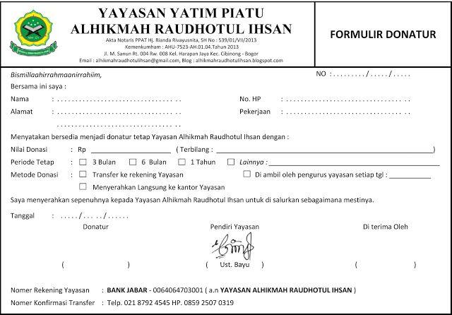 Surat Permohonan Donatur Tetap Yayasan Yatim Piatu Alhikmah Raudhotul Ihsan Surat Yatim Piatu Nama