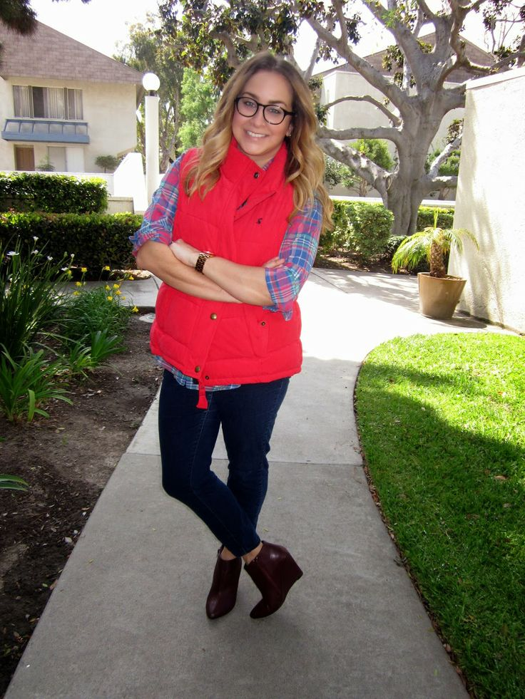 plaid shirt, puffer vest, booties // the daily dani: Perfect & Preppy: Joules USA