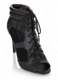 Madison | Open Toe Lace Up Heels Black