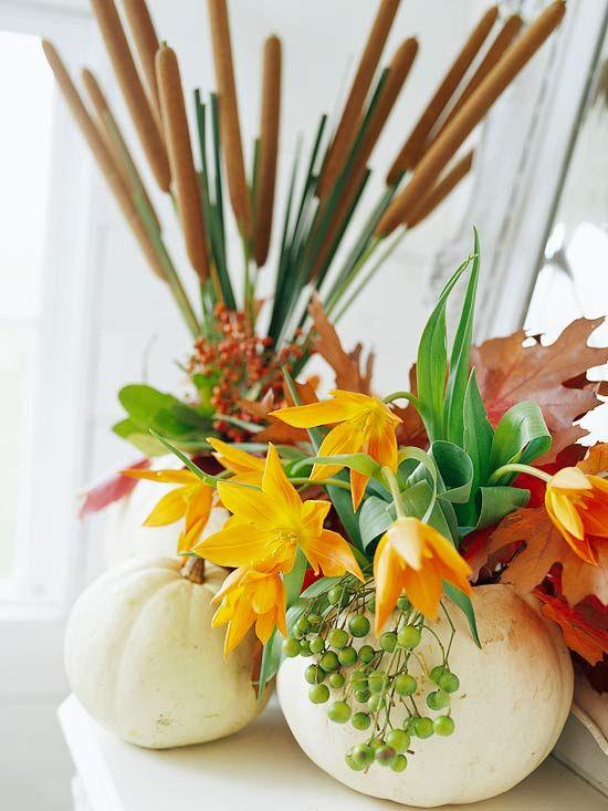 Schilf Weintraube Blumen Kürbisse Vase