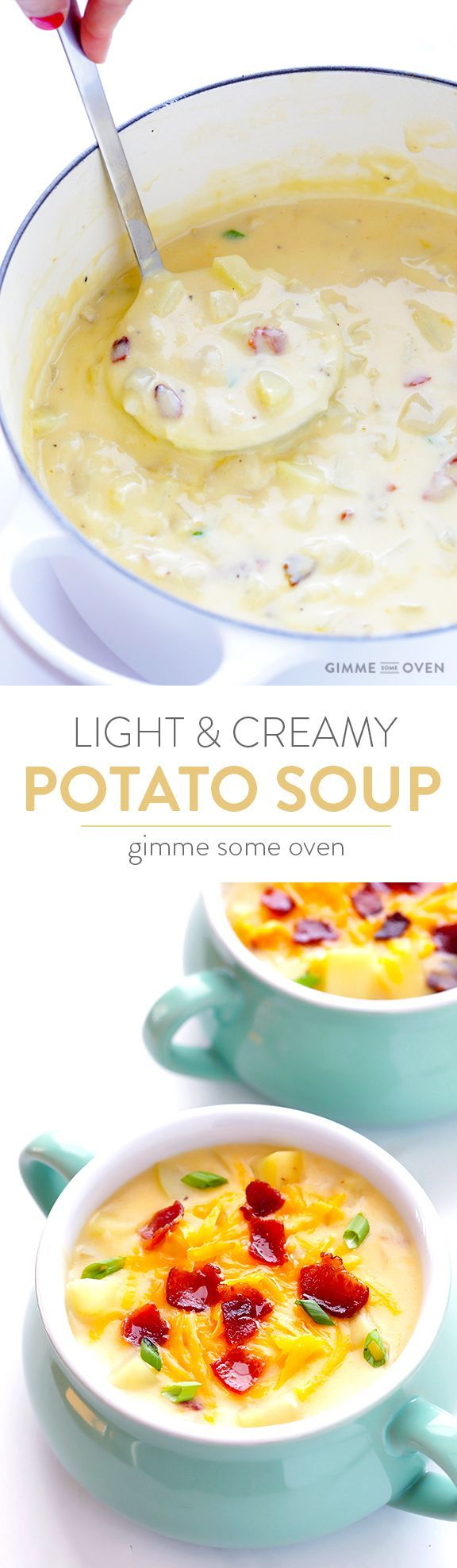 My all-time favorite recipe for classic potato soup!  It's simple to make, lightened up with milk instead of cream, and perfectly creamy and delicious. | gimmesomeoven.com