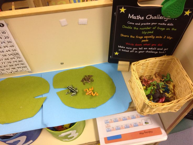 Maths challenge. Share the frogs between the two lilly-pads. Halving in the EYFS. EYchloe