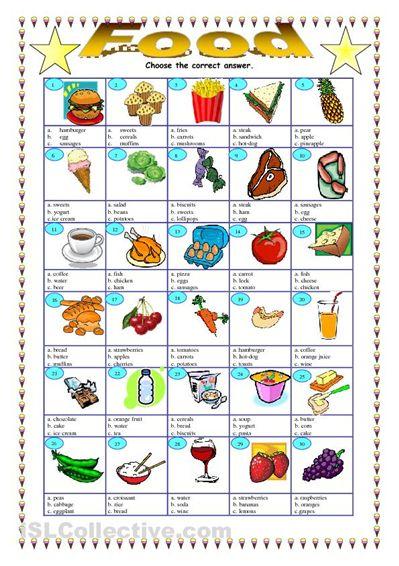 food choose the right answer worksheet islcollectivecom free esl food worksheet for esl. Black Bedroom Furniture Sets. Home Design Ideas