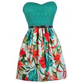 Hawaiian Print Dress, Tropical Print Dress, Cute Summer Dress, Summer Printed Dress, Strapless Printed Dress, Jade and Coral Tropical Dress
