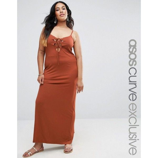 ASOS CURVE Maxi Beach Dress with Lace Up Front ($33) ❤ liked on Polyvore featuring dresses, brown, plus size, plus size brown dress, tall dresses, plus size dresses, maxi dresses and plus size beach dresses