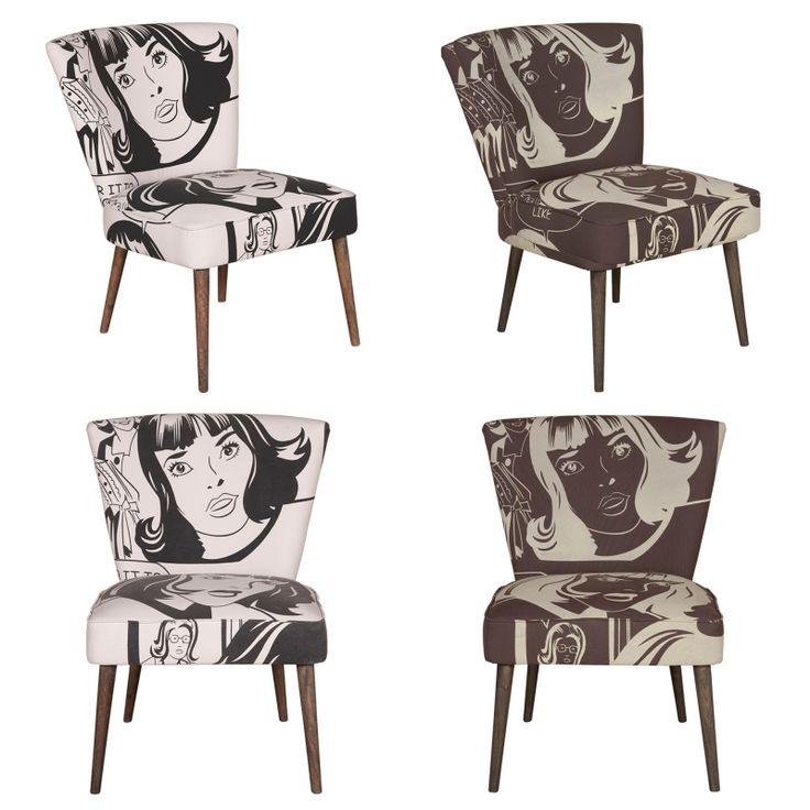 Pop art Armchairs - Χειροποίητη πολυθρόνα από ύφασμα και μασίφ ξύλο μάνγκο  Σε δύο χρώματα: Λευκό/Μαύρο και Σοκολά/Εκρού