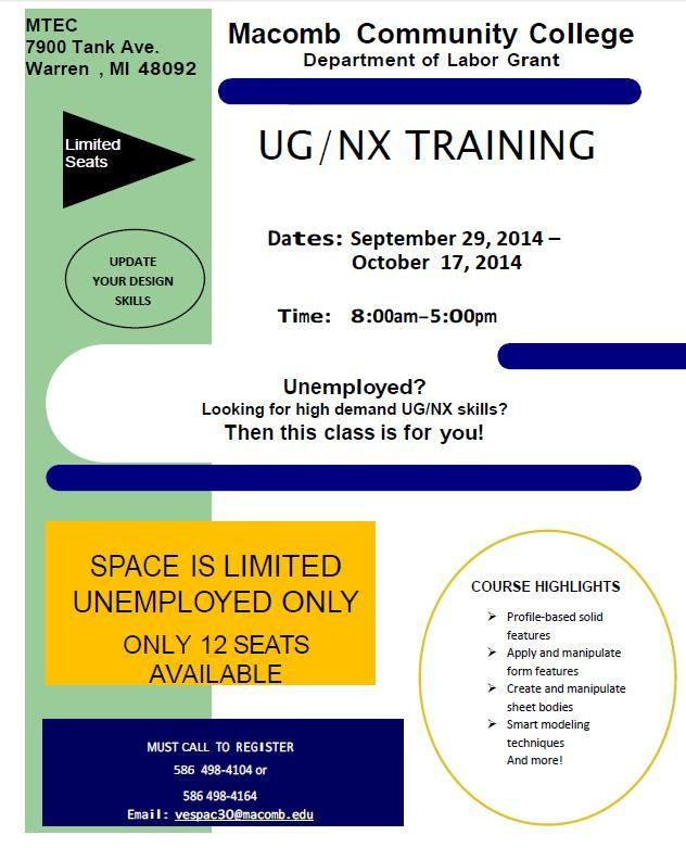 Macomb/St. Clair Michigan Works - TRAINING OPPORTUNITY- Macomb Community College: UG/NX Training