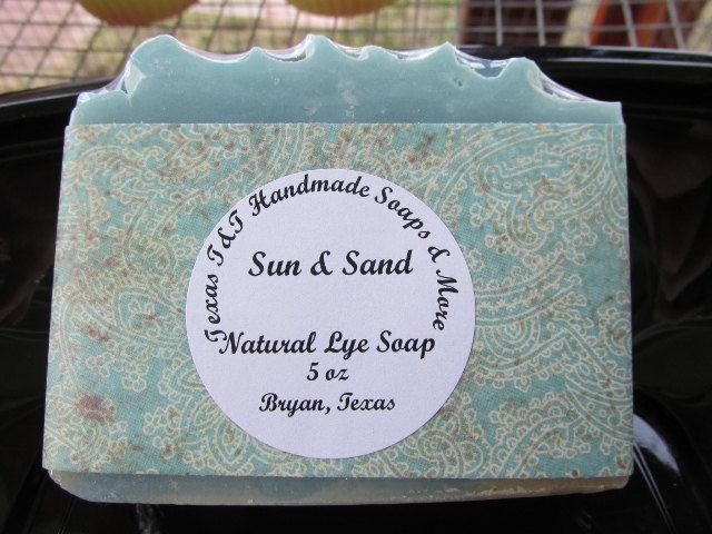 Texas T&T Handmade Soaps Sun And Sand Natural Home Made Lye Soap 5 oz by TexasTAndT on Etsy