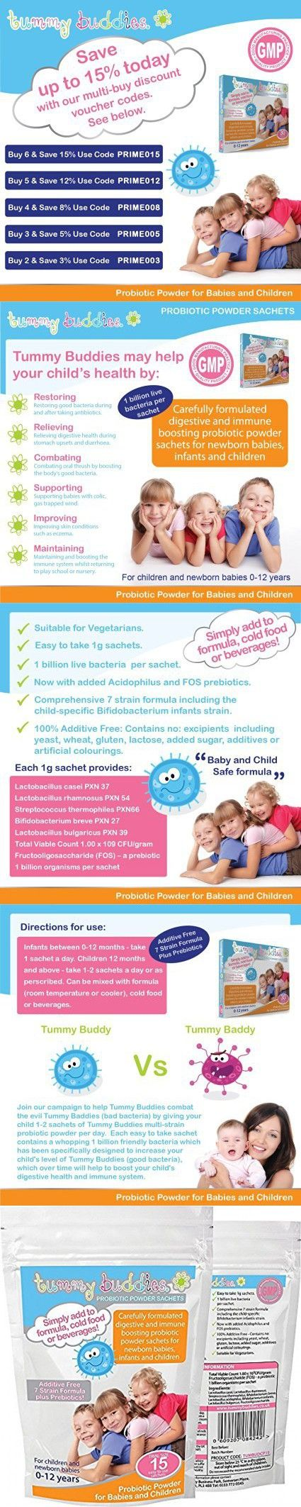 Kids Probiotic Powder - 1 Billion CFU - Mix With Cold Food or Drinks - Best Quality Child & Baby Safe 7 Strain Formula with Lactobacillus Acidophilus & Prebiotics - Sugar & Additive Free - 15 Packets