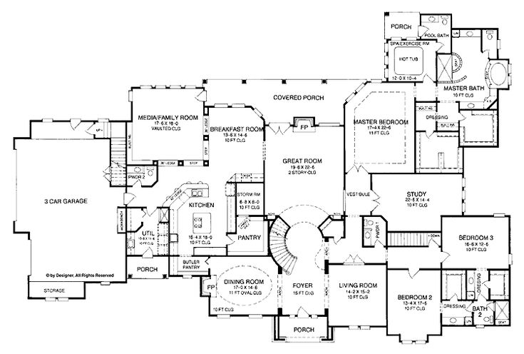 Bedroom One Story House Plan With Exercise Room Office Formal