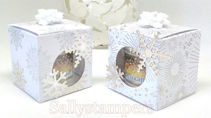 Yankee Candle Votive Box #2. Year to Cheer DSP, stunning. Independent Stampin' Up!® Demonstrator UK.