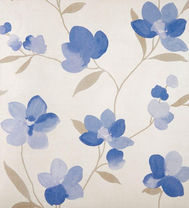 Papel pintado flores grandes azul de acuarela con fondo beige - 2019946