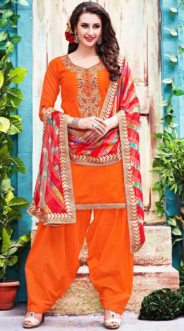 Orange Chanderi Silk Patiala Salwar Kameez    #indiabazaaronline #SalwarKameez #PatialaSalwarKameez #Chanderi #Silk #EmbroideredSuits #PunjabiSuit #ShortKameez #SideCutKameez #PartyWear #DesignerSalwarKameez #duppattawithwork #FrontCutKameez #LongKameez #LongSleeves #PatiyalaDress #PlusSizeDress