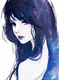 drawing Illustration art hair girl cute eyes anime sexy hot japan kawaii beautiful sky black draw galaxy stars manga lips dark purple woman nippon