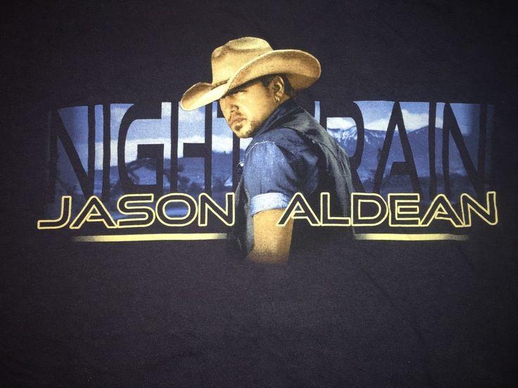 Jason Aldean 2013 Night Train Tour Concert T Shirt Size Medium Navy 2 Sided #Gildan #GraphicTee