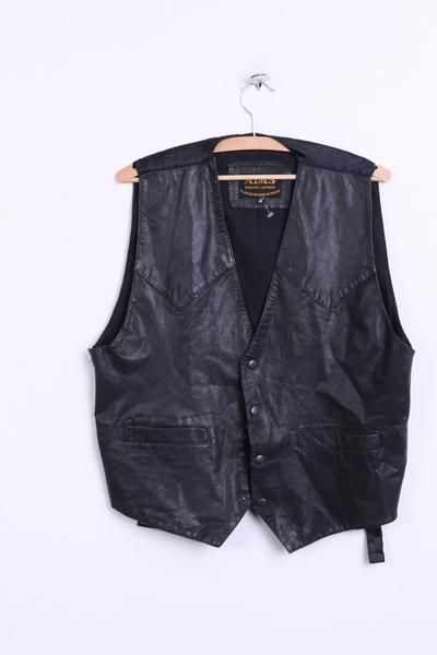 AIMS Mens M Vest Waistcoat Leather Black Classic Designs by Pigany - RetrospectClothes