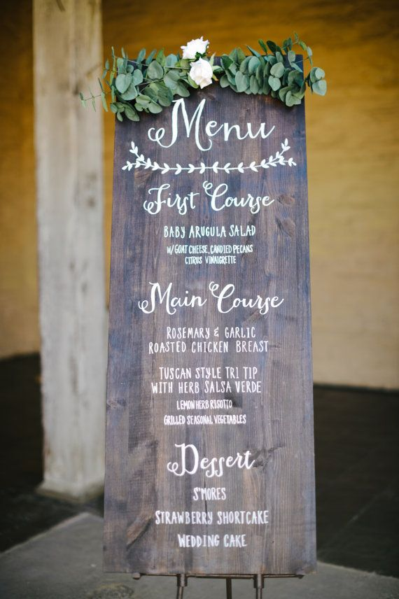 Wood Wedding Menu by oceanavenuestudio on Etsy