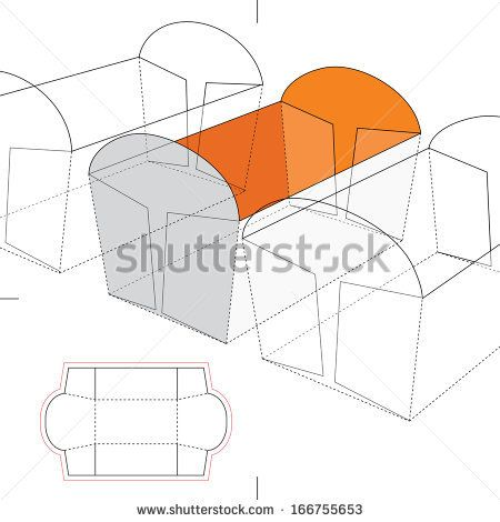 Sponge Cake Tray with Blueprint Layout - stock vector