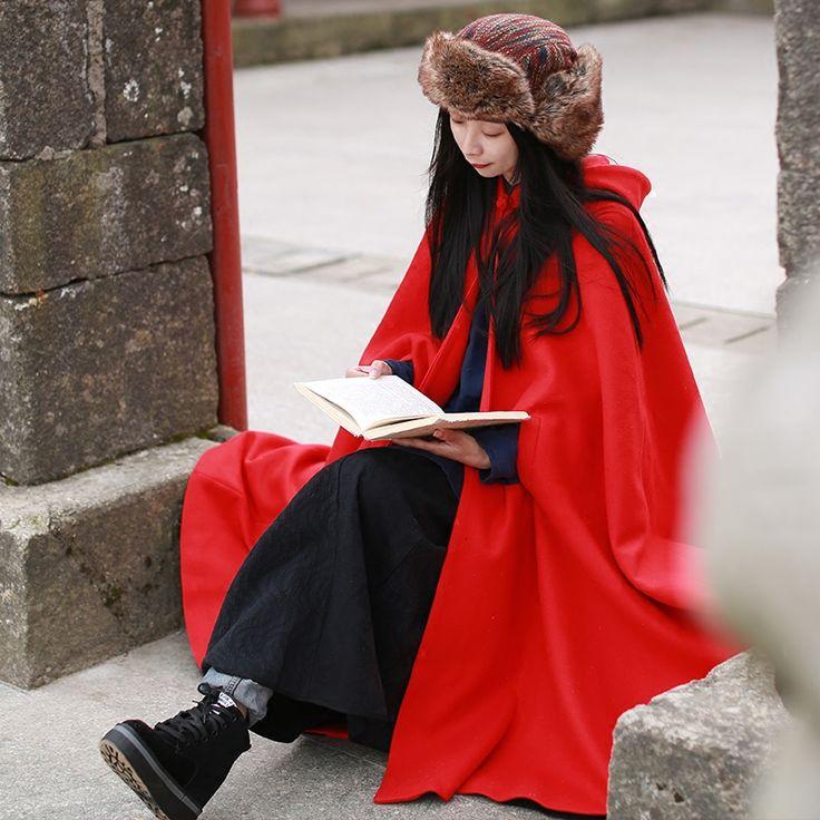 LZJN Warm Woolen Mantel Frauen Wintermantel Faux Pelz Jacke Mit Kapuze Lange Trenchcoat Roter Wolle Cape Elegante Strickjacke Oberbekleidung 15248