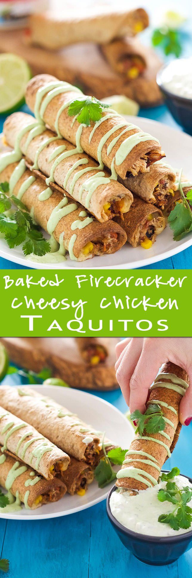 Cheesy Firecracker Baked Chicken Taquitos are a healthier alternative to their store bought sidekicks! Filled with gooey spicy cheese corn chicken and peppers they are super crispy thanks to a quick bake in the oven!: