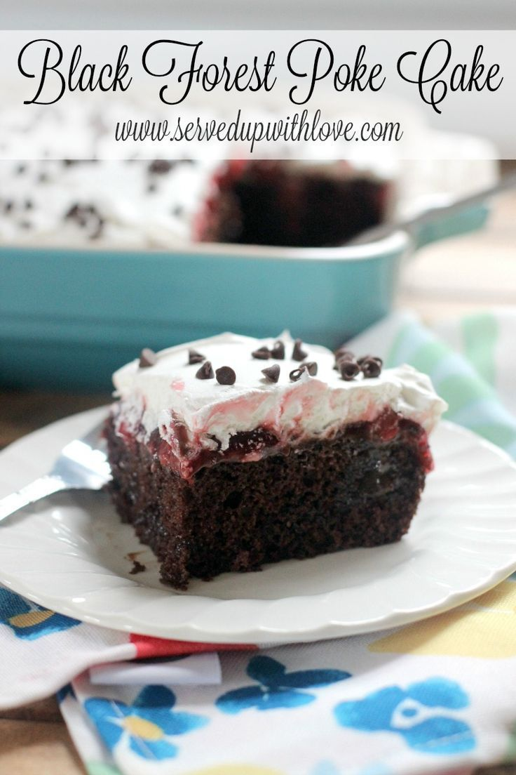 Black Forest Poke Cake recipe from Served Up With Love makes an old school poke cake sinfully delicious. www.servedupwithl...
