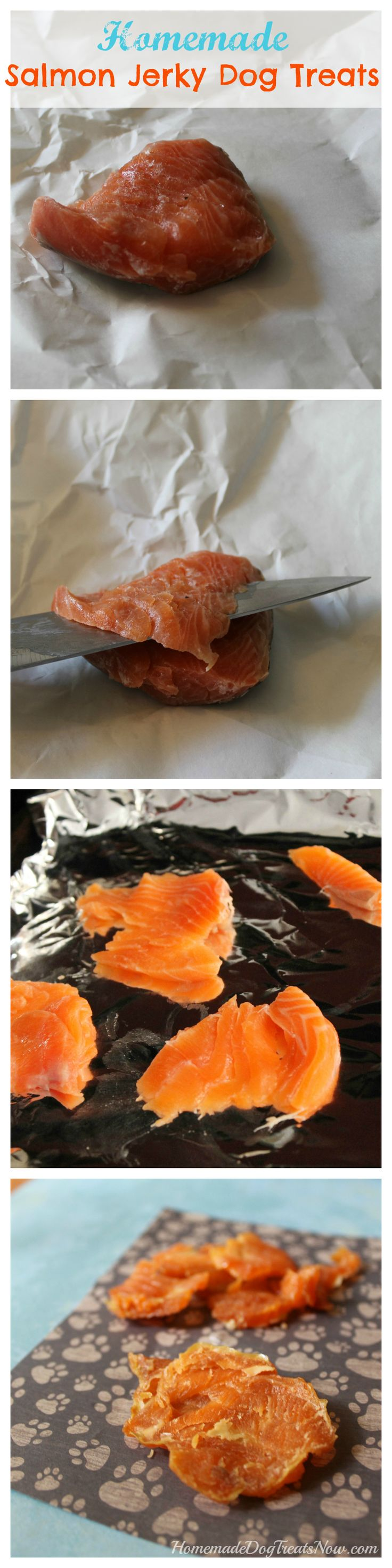 Homemade Salmon Jerky Dog Treats. These are SO easy to make and healthy for your dog! #homemade #diy #dogs