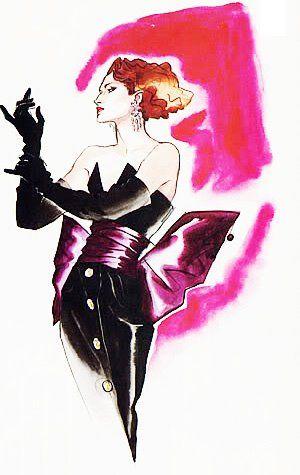 Illustration - Miss Violetta Sanchez by Antonio Lopez for Yves Saint Laurent, 1985