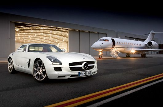 Mercedes SLS AMG and private jet...my travel style