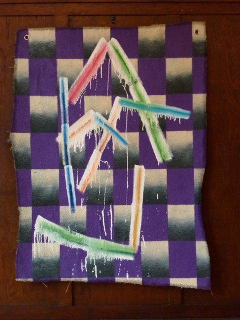 Peter Gouge, I.T.M. II, (purple) 2014, oil, enamel and spray paint on carpet, 1480 x 1080 mm