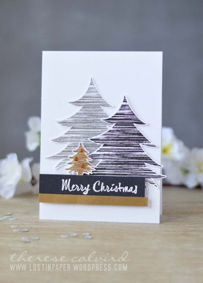 Christmas card by Therese Calvird using Darkroom Door Brushed Christmas Vol 1 Rubber Stamp Set