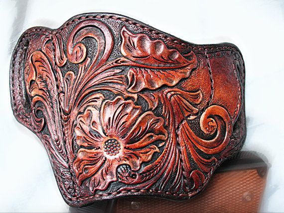 The Tooled Leather Holster Pancake 1911 Left Hand is made using 9-10 oz leather (front) and 6-7 oz (back) leather the holster lined with 4-5 oz leather and 3-4oz leather (front). It is covered with a special compound to protect against moisture. It good fits for all 1911 types. This leather pancake holster features a forward cant and open bottom design. It has no thumb break. This Tooled Leather Holster Pancake 1911 Left Hand is hand stitched using saddle stitch method. I am happy to…