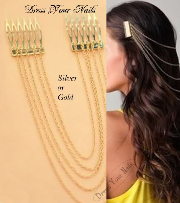 Hair Combs Twin with chain - Hair Jewellery Bridal  Decoration Bride Multi - uk