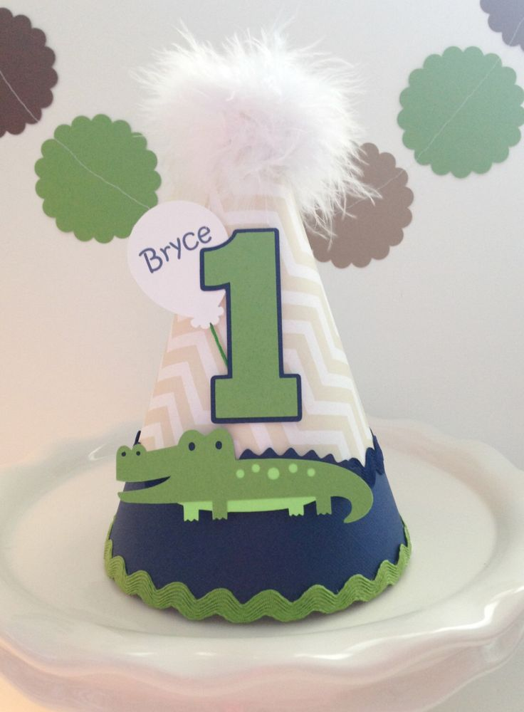 Lil Blue Bayou Alligator Birthday Party Hat - Personalized by SandysSpecialtyShop on Etsy https://www.etsy.com/listing/194877457/lil-blue-bayou-alligator-birthday-party