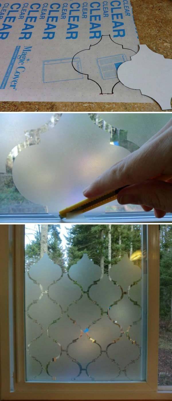 Amazing DIY Frosted Glass Door Design