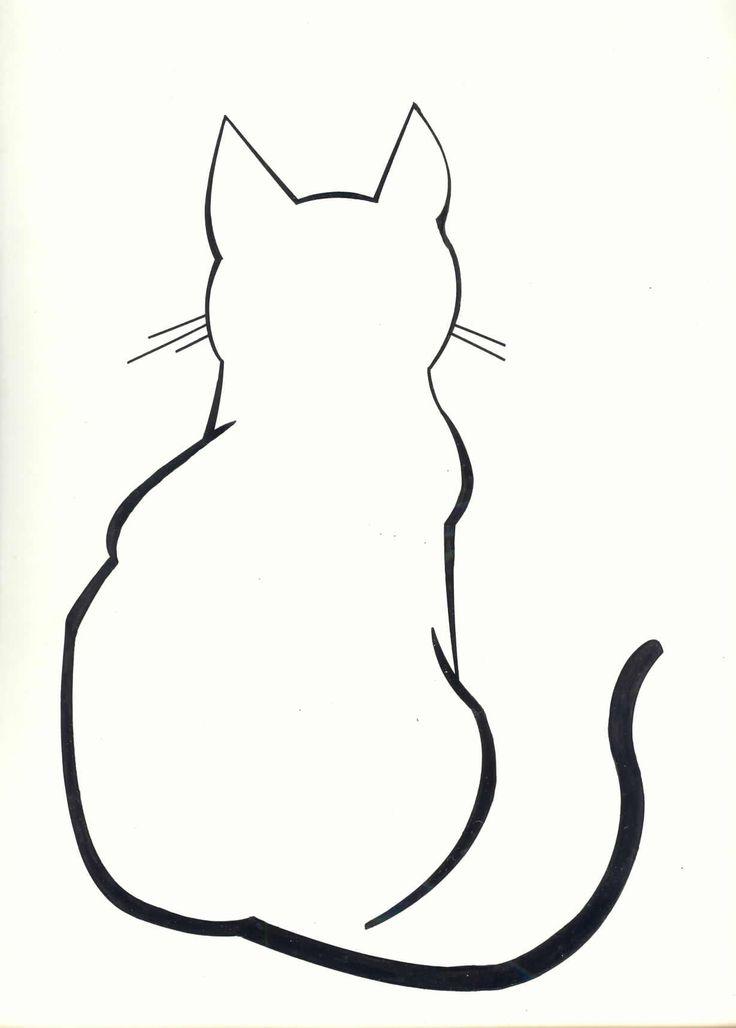 Раскраски трафареты изображения кота сзади | Кошачье ...